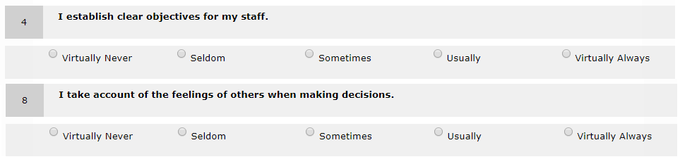 Leadership Dimensions Questionnaire Questions
