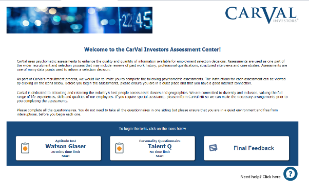 GFB CarVal Assessment Centre