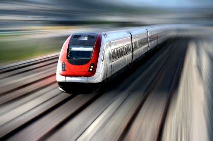 red and white high-speed train